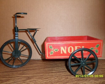 Black metal Tricycle with red wood Noel wagon
