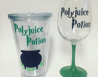 Polyjuice Potion inspired by Harry Potter glass, stemless, tumbler with straw