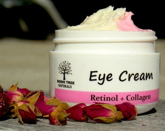 Anti Aging Eye Cream/Retinol + Collagen Eye cream made with Eye Brigthening Rose Hips oil - Eye solution - wrinkle cream (1oz)