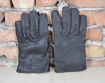 Vintage Black Leather Gloves Man's Leather Gloves Size 10.5 NOS Winter Gloves Driving Black Genuine Leather Perfect Gift for Him