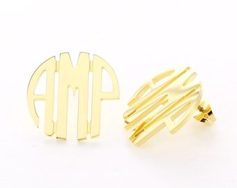 Gold Plated Circle Stud Earring