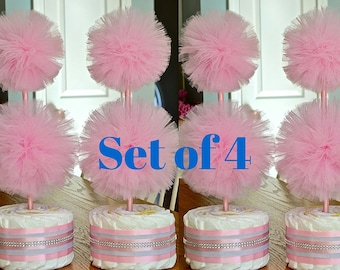 Tulle Pompom Topiary Centerpieces   Baby Girl   Pink And Silver Baby Shower  Decorations   Unisex