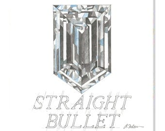 Straight Bullet Diamond Watercolor Rendering printed on Canvas