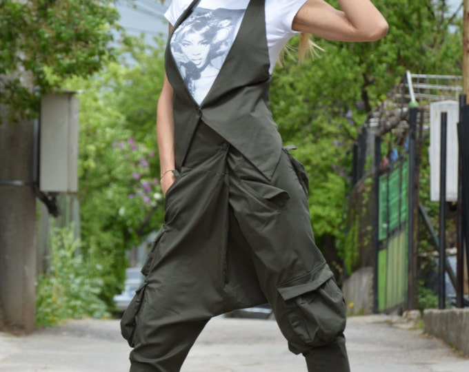 Loose Casual Military Cotton Set, High Waist Pants, Extravagant Casual Vest, Ovesrize Plus Size Clothing by SSDfashion