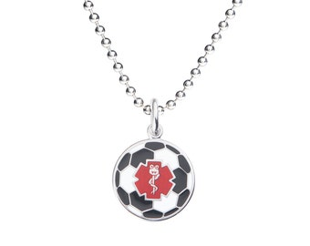 "Dr. Soccer Jr. 316L 1"" Medical Alert ID Pendant Neckalce w/ Ball Chain-Free Engraving,  Wallet Card, Apps-5787"
