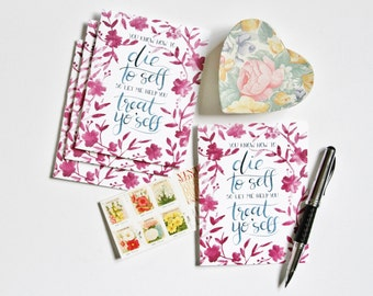 Set of Four You Know How to Die to Self So Let Me Help You Treat Yo'self Greeting Cards