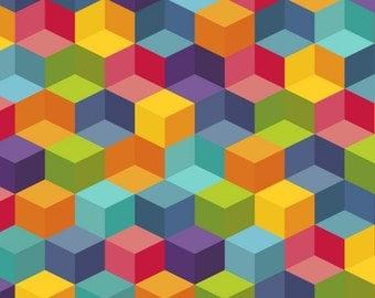 Cotton Fabric Geometric X - Green, Yellow, Teal, Pink