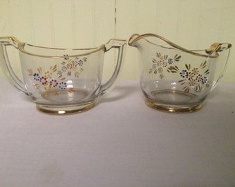 Open Floral Sugar Bowl and Creamer Gold Encrusted Band