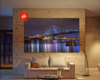 Ben Franklin Bridge Large wall art canvas Benjamin Franklin Bridge, Philadelphia  print fine art 3 / 5 panels decoration wall art