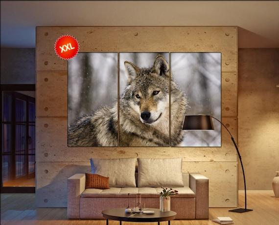 Gray wolf  canvas wall art Gray wolf wall decoration Gray wolf canvas wall art art Gray wolf large canvas wall art  wall decor