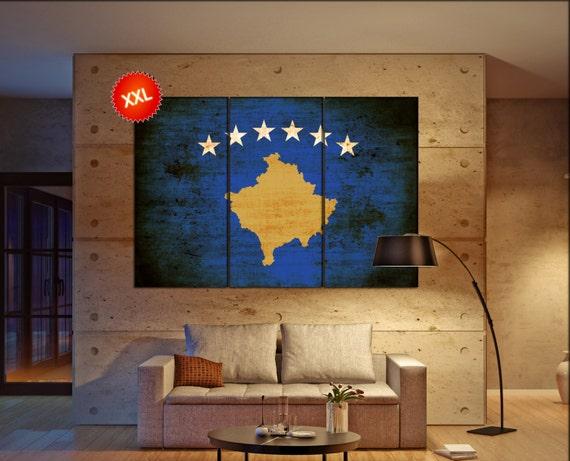 Kosovo flag canvas wall art art print large  canvas wall art print Kosovo country flag Wall Home office decor interior Office Decor