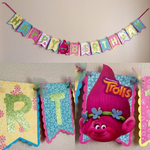 Handmade Trolls Inspired Happy Birthday Banner FREE