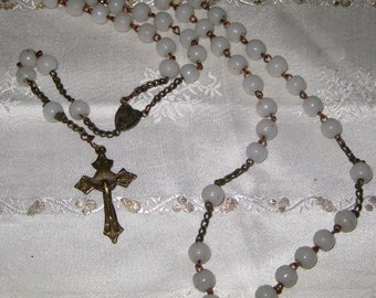 Antique Milk Glass Rosary With Brass Crucifix