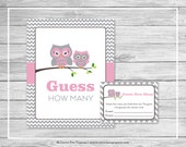 Owl Baby Shower Guess How Many Game - Printable Baby Shower Guess How Many Game - Pink Owl Baby Shower - Guess How Many - Owl Shower - SP134