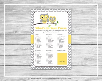 Owl Baby Shower What's In Your Purse Game - Printable Baby Shower What's In Your Purse Game - Yellow Owl Baby Shower - Purse Game - SP133