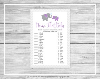 Elephant Baby Shower Name That Baby Game - Printable Baby Shower Name That Baby Game - Purple and Gray Elephant Baby Shower - SP116