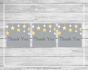 Twinkle Little Star Baby Shower Favor Thank You Tags - Printable Baby Shower Thank You Tags - Twinkle Little Star Baby Shower - SP117