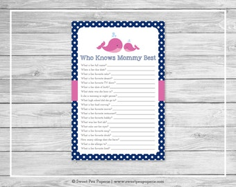 Whale Baby Shower Who Knows Mommy Best Game - Printable Baby Shower Who Knows Mommy Best Game - Pink Whale Baby Shower - Shower Game - SP128