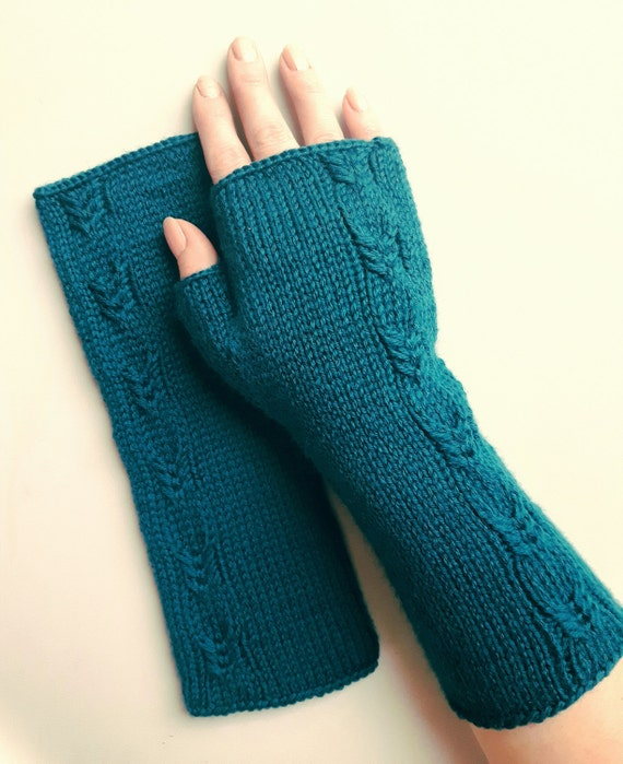 Hand Knit Fingerless Gloves Teal Womens Gloves Warm Armwarmers-6053