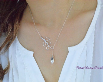 Lariat Branch Pear-Shaped Pearl Personalize Leaf Necklace, Elegant Modern Lariat Y White Pearl Branch Leaf Wedding Jewelry, Bridesmaids Gift