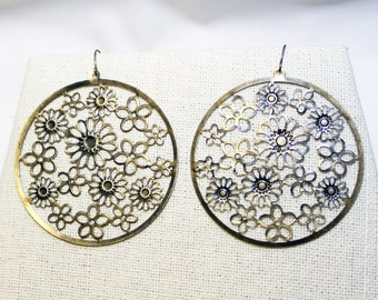 Brass Earrings - Boho Earrings - Filigree Earrings - Brass Stampings - Floral Circle Earrings