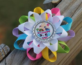 Shopkins inspired hair bow, yo-chi hair bow, shopkins bow, girls hair bow, hair bow, Shopkin bow, shopkins birthday party hair bow