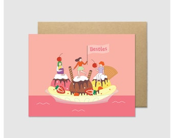 Besties Ice Cream Boat Greeting Card - Banana Split Sundae - Foodie Girl - Funny Friendiversary - Cute Hungry Girl - Card for Best Friend