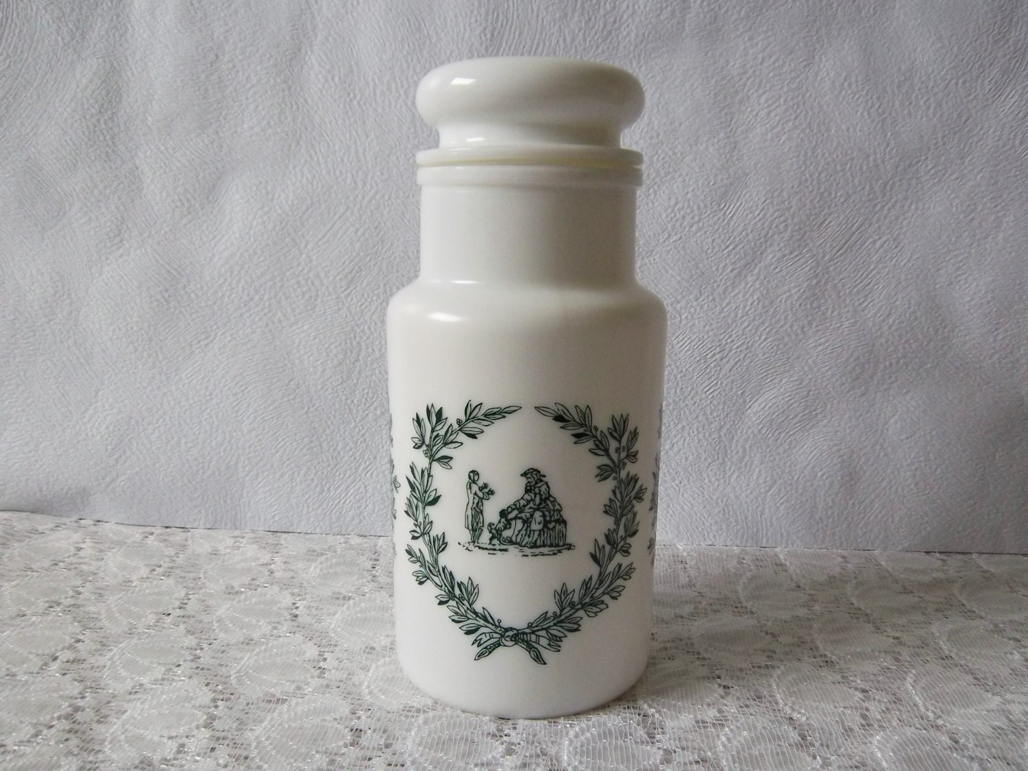 apothecary storage jar white opaque glass and green transfer. Black Bedroom Furniture Sets. Home Design Ideas