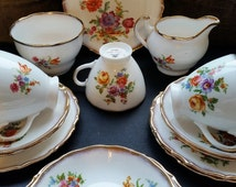 English Fine Bone China Tea Set, Dorchester Floral Tea Service 18 Pieces for 5. Mothers Day Gift Flowers Roses Gilding Yellow Orange Lilac
