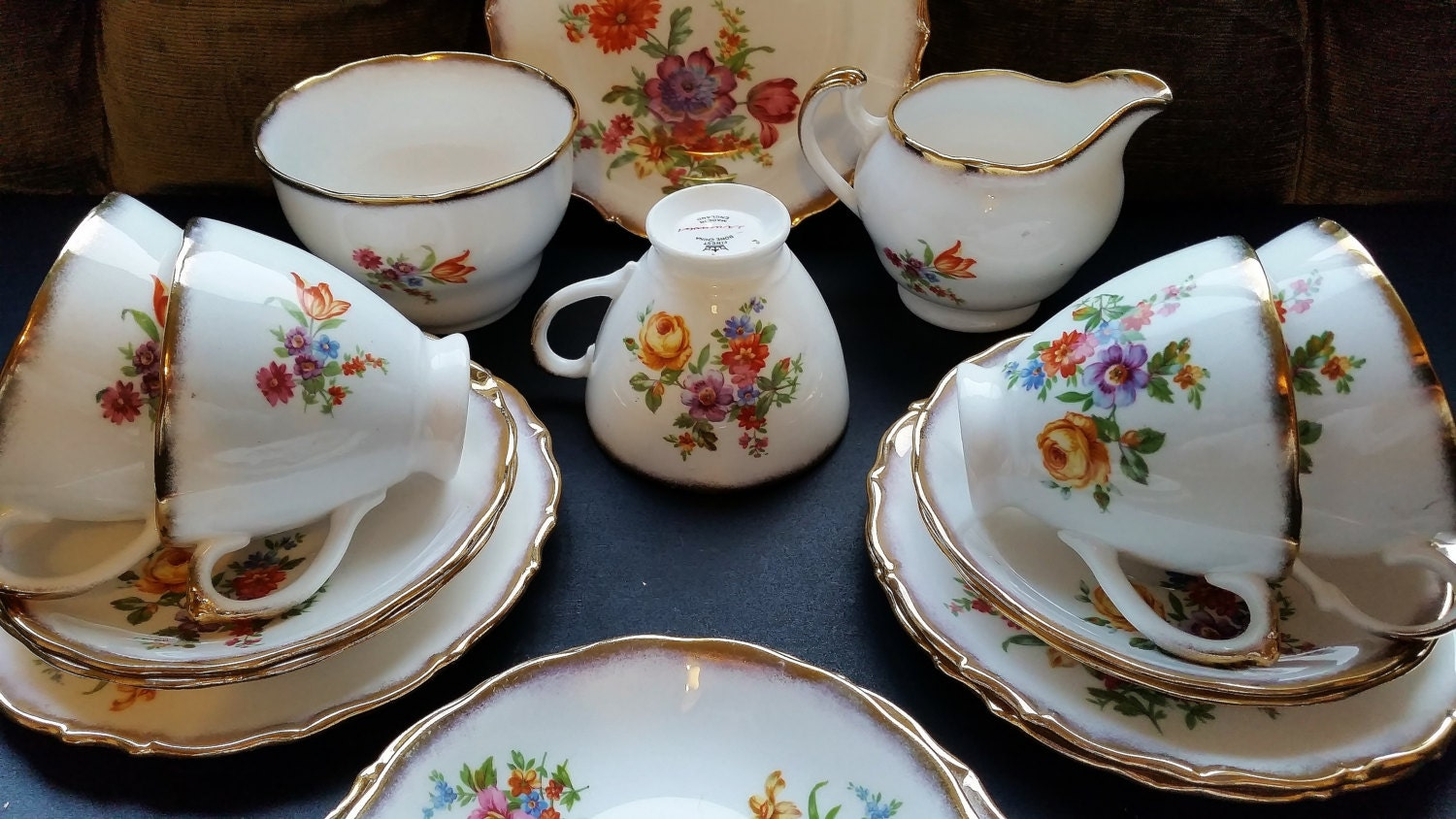 english fine bone china tea set dorchester floral tea service. Black Bedroom Furniture Sets. Home Design Ideas
