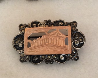 Parthenon  Athens design Gold and silver  pin