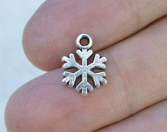 Snowflake Charms, Silver Snowflakes, 50 Pieces, Antique Silver Charms, #BCH294, Winter Charms, Bracelet Charms, Metal Charms, Bulk Charms