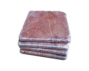 Tumbled Stone Coasters with Cork Backing - Set of Four - Color Rojo Alicante