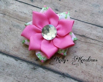 PInk flower clip with jewel-Pink flower hairbow- Pink hair bow clip-Girls hair clip-Simple hair bow-Simple flower hairbow.