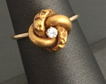 14K Yellow Gold Antique Victorian Love Knot Engraved Diamond Stick Pin Ring