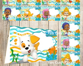 24 Bubble Guppies Food Tent Cards instant download, Printable Bubble Guppies Labels, Bubble Guppies Party Table Label