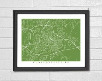 Charlottesville Map Art - Map Print - Virginia - Map Print - Home Map - Anniversary Gift - Map Art - Home Decor - Birthday Gift - Travel