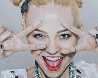 Rebel, 8x10 Print, Colored Pencil Drawing, Celebrity Art