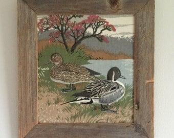Vintage 3D Ducks Raised Fabric Picture with Rustic Wood Frame