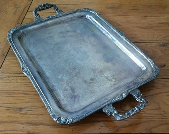 Vintage SHERIDAN Silver Plated Butler's Serving Tray Footed with Handles #PR