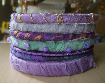 Stacking Bangles, Silk Wrapped Bangle, Fabric Wrapped Bracelet, Gypsy Bangles, Purples, Gray, B605