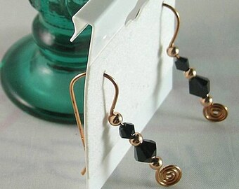 Jet Swarovski Crystal Earrings - Earth Chakra - Black Energy Color Ray