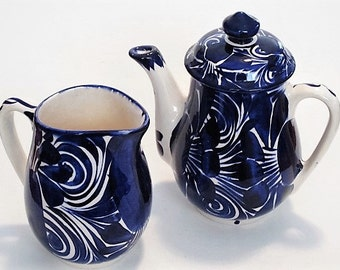 Mexican Ceramic Tea Kettle and Creamer/Pitcher // Blue & White //  Kitchen, Coffee/Tea Serving