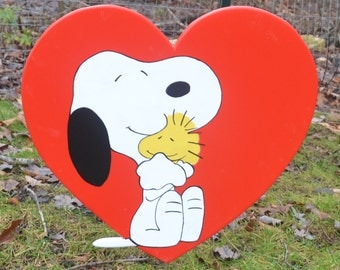 Snoopy and Woodstock in a heart for Valintines Day Ground stake or wall plaque