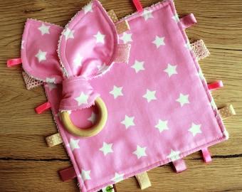 Christmas Baby girl gift, Taggie blanket, Wood teething ring, New baby girl gift, Star baby shower gift, Baby comforter, Security blanket
