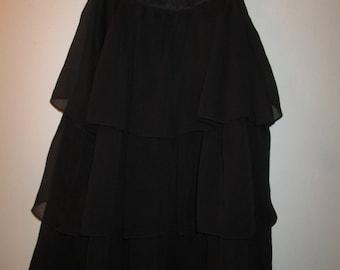 Vintage Motherhood dressy ruffled black maternity top with satin collar. Size Medium