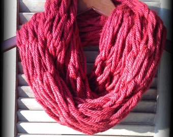 Red Chunky Arm Knit Long Infinity Scarf, Super Soft and Warm!