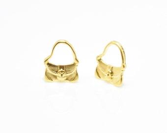 Handbag Pendant . Handbag Charm . Tote Bag Pendant . Jewelry Craft Supply . 16K Matte Gold Plated over Brass - 4pcs / RG0007-MG