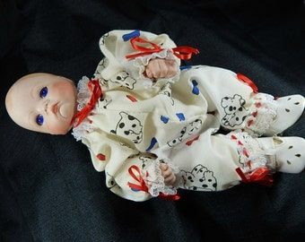 "Vintage 9-1/2"" Porcelain Baby Doll Infant Blue Eyes"