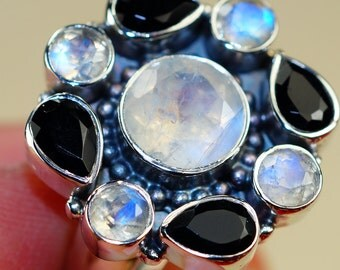 Rainbow Moonstone with Onyx   & 925 Sterling Silver Ring size 9.5